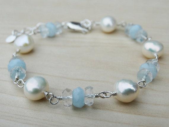Pearl & Aquamarine Bracelet - Sterling Silver