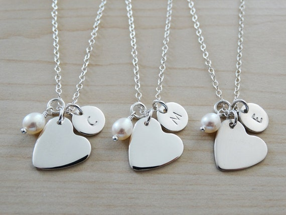 Silver Heart & Initial Necklace With Pearl - Sterling Silver