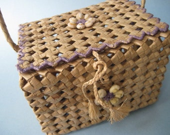 Vintage Polynesian Tropical Woven Handled Basket Purse with Shells