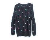 80s 3D POM POM Novelty Rainbow Polkadot Wool Knit Sweater