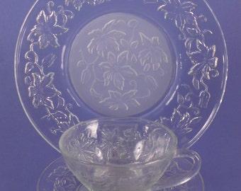 Vintage Pressed Glass Vintage Dessert Set, Clear Leaf Motif, Plate, Cup and Saucer, Ladies Luncheon Set