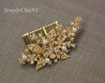 Rose Gold Vintage Inspired Pearls bridal hair comb,Branch,Leaves comb, wedding hair comb, bridal hair accessories,Flower comb
