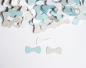 Little Man Baby Shower- BowTie Confetti - Baby Boy Shower - Bow Tie Confetti - Light Blue and  Gray