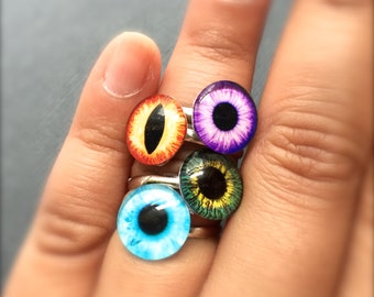 Colorful Eyeball Adjustable Ring. Gifts for Her Under 10. Colorful. Dragon Eye. Cat Eye. Blue. Purple. Green. Simple. Silver Band. Trendy.