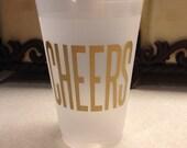 Custom Frost Flex Cups, 8 oz, 9sq oz, or 10 oz cups, CHEERS