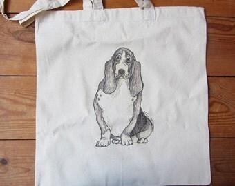 SALE - Bassett Hound Cotton Tote Bag - Illustrated Tote