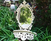 Large Oval Mirror and Shelf Set, Baroque Oval Mirror, 70s White Shelf & Mirror, Bed Crown, White Oval Mirror, Rustic Shelf and Mirror
