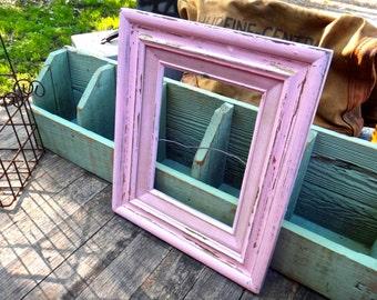 Frame, Pink Frame, 10 x 12 Frame, Wood Frame, Painted Frame, Wedding, Shabby, Baby Shower, Baby Girl Gift, Girls Bedroom, Prop, Photo Prop