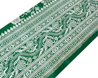 Emerald Green and Silverish Gold Brocade Sari Border - Trim / Lace / Ribbon - Brocade Silk Border by Yard