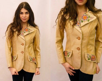One of a kind Early 70s Char hand painted floral leather jacket