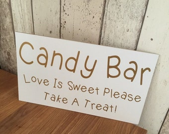 Candy bar sign love is sweet please take a treat