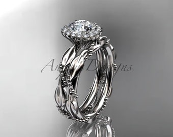 14kt white gold diamond leaf and vine wedding set, engagement set ADLR337