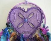Dreamcatcher - Wall Hanging - Home Decor -Shabby Chic - Boho - Indian - Freespirit - Gypsy - Dream Catcher - Dream - Purple Flower