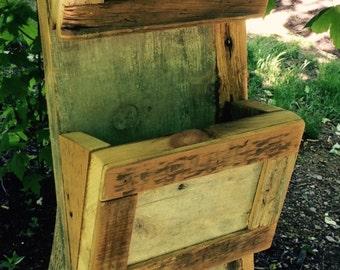 Reclaimed wood mail sorter and hooks for keys