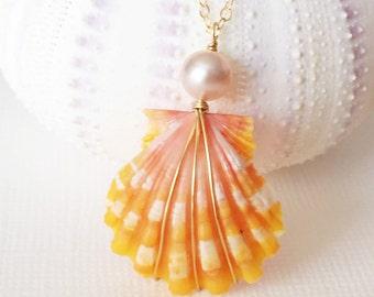 Sunrise shell necklace - orange sunrise shell necklace - sunrise shell and pink pearl necklace (N173)
