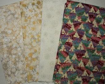 4 Whites Christmas Cotton Fabric