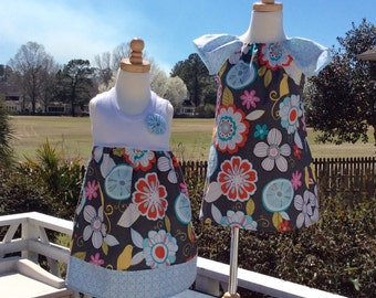SiSTER SET for SUMMER fun.... girls tank style dress with coordinating flutter sleeve dress- mix and match...customize for the whole family