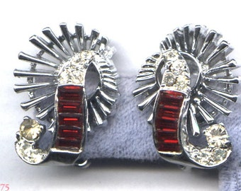 PELL Red Baguette and Clear Rhinestone Clip Earrings   Item: 10075
