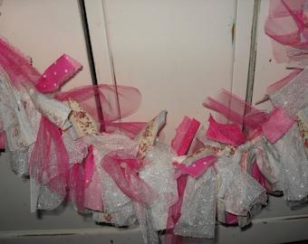 Shabby Rag Banner, Rag Garland, Rag Tie Banner, Pink Rag Banner, Roses, Lace, Tulle, Wedding, Sweet 16, Photo Prop, Nursery Decor