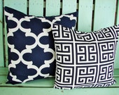 set of 2 navy blue and white fynn, towers print- pillow cover-accent pillow cover- decorative pillow cover-gifts under 40-throw pillow