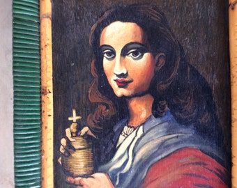 Signed Vintage Naive Folk Art oil on board Female figure Painting, France