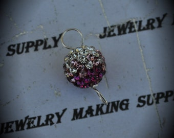 Solid 925 Sterling Silver Wire Wrapped Swarovski Crystal 10mm Pave Connector Link - Fuchsia Light Rose Clear
