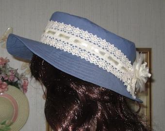 Denim Blue Fabric and Cream Rose and Lace Garden Beach Sun Hat