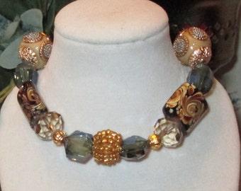Mosaic Blue and Gold Beaded Bracelet
