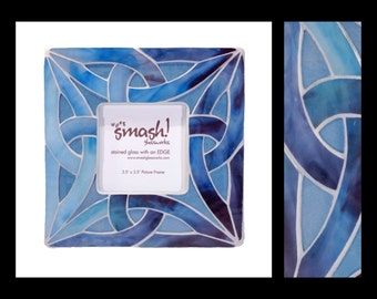 Celtic Knot in Shades of Blue - 3.5x3.5 Stained Glass Mosaic Picture Frame