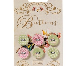 Tilda Apple Bloom Fabric Covered Buttons 17mm Pack of 6