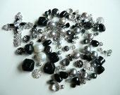 BULK Swarovski Crystals & SP Cross Pendant Jet-Bicone-Rondelle-Agate Nugget-Silver Sparkle-Pearls-Hematite-Czech - over 135 loose beads
