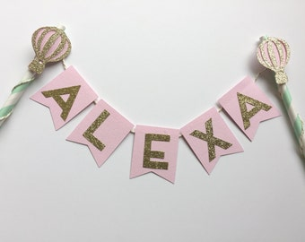 Hot Air Balloon Cake Topper in Mint, Pink, Gold Glitter.  Smash Cake.  1st Birthday Photo Prop.  Personalized Cake Bunting Banner.