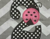Large black and white polka dot number two with pink ladybug. Iron embroidered fabric applique patch embellishment-ready to ship