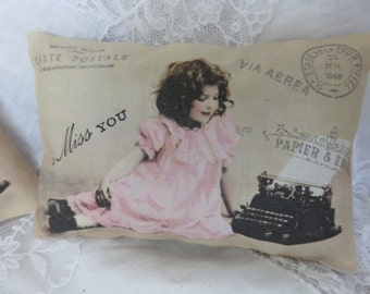 French Paris I Miss You Girl, Lavender Gift Sachet, Paris Postcard, Antique Typewriter, Valentines Day gift
