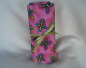 Pretty in Pink Butterfly Cotton Fabric Roll-up Crochet Hook Case