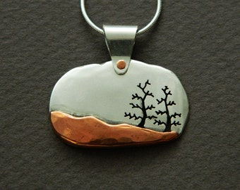 Mixed metal jewelry, tree pendant and silver and copper mixed metal pendant