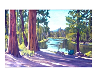 Oregon Landscape Print Dad's Place Deschutes River 8x12 inches Matted to 12x16 inches