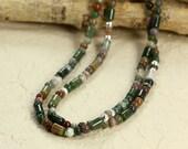 Long Fancy Jasper Necklace with Sterling Silver, Beaded Necklace, Green Necklace, Long Necklace