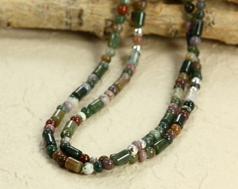 Long Fancy Jasper Necklace with Sterling Silver, Beaded Necklace, Green Necklace, Long Necklace