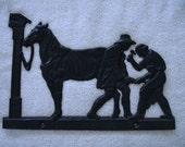 Vintage Amish Cast Blacksmith Trade Sign By Emig co. Wall Hanger Western Farm Life BlackSmith