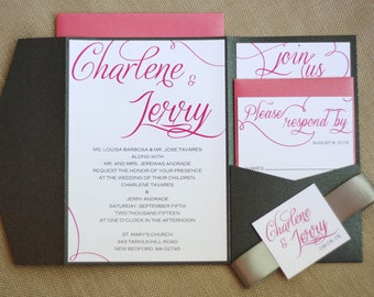 Pink, Black and Silver Script Pocketfold Wedding Invitation Suite