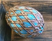 Chocolate Brown and Turquoise Egg Temari