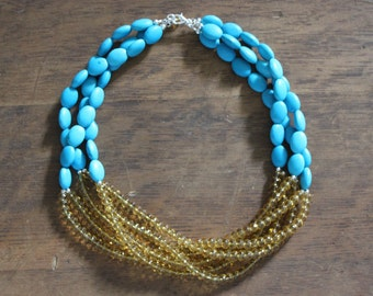 Turquoise and Yellow Glass Multi Strand Statement Necklace
