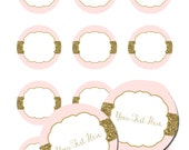 """INSTANT DOWNLOAD -  Pink Blush Gold Glitter 2"""" Circle Cupcake Favor Tags or Labels Jelly Jars Birthday Party Baby Wedding - You Print"""