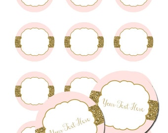 "INSTANT DOWNLOAD -  Pink Blush Gold Glitter 2"" Circle Cupcake Favor Tags or Labels Jelly Jars Birthday Party Baby Wedding - You Print"