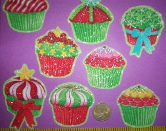 Glitter Christmas Cupcakes  Iron-ons