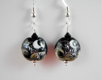 Moon Earrings, Crescent Moon and Stars, Moon Jewelry, Lampwork Earrings, Celestial Earrings, Mystical Moon Designs