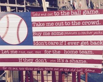 Baseball Slat Flag - Take Me Out To The Ball Game