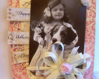 SALE ~~~~~~Happy Mother's Day ~~~ Charming Child & Pet Greeting for Mother~~~~