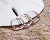 Endless Hoop Nose Ring - 20 or 18 Gauge - Choose Size 8mm 10mm - Nose Hoop - Septum Ring Septum Hoop - Sterling Silver - Rose or Yellow Gold
